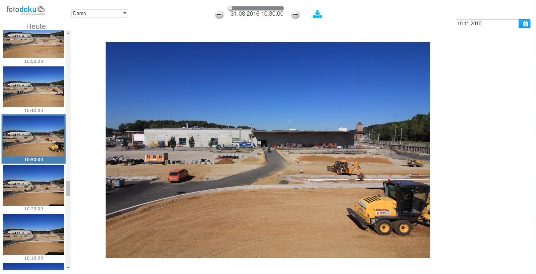 Screenshot Baustellenkamera Software
